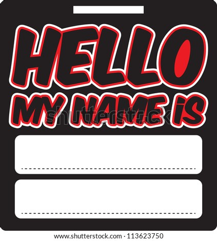 Retro Hello Name Tag - stock vector