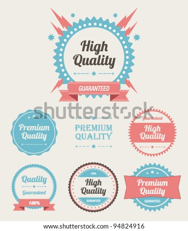 Retro High Quality Labels Set - stock vector