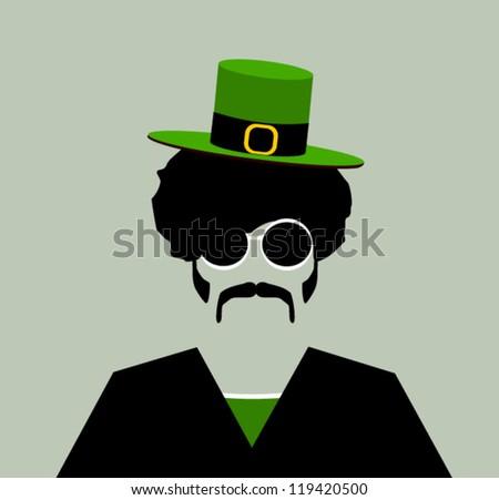 retro hipster man with small irish leprechaun hat - stock vector