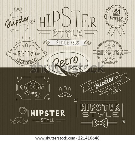 Retro hipster stamps and decors collection on two colors background