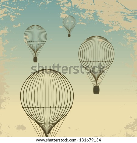 Retro hot air balloon sky background old paper texture. Vintage - stock vector