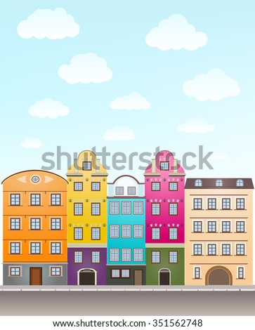 retro houses and sky with clouds. vector - stock vector