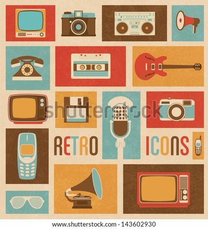 Retro Icon Set - stock vector