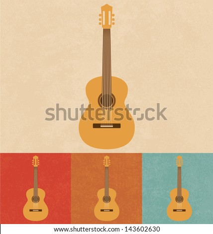 Retro Icons - Acoustic Guitar - stock vector