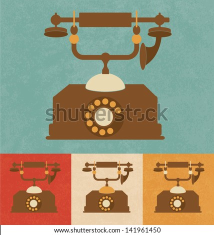 Retro Icons - Old Telephone - stock vector