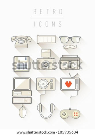 Retro icons vector in simple cool style on white background - stock vector
