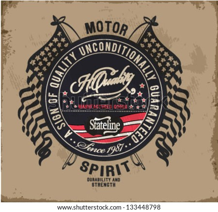 retro illustration badge label for apparel - stock vector