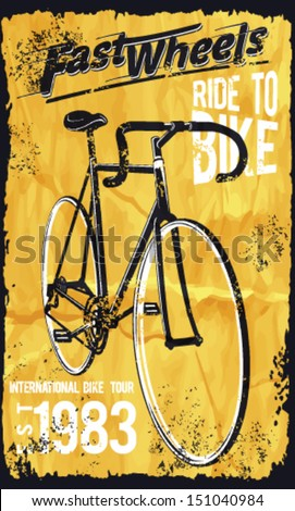 Retro Illustration Bicycle posters.bike vector printing - stock vector