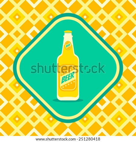 Retro illustration of a beer bottle  - stock vector