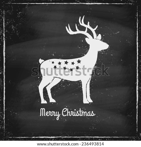 Retro illustration of a deer on chalk board - stock vector
