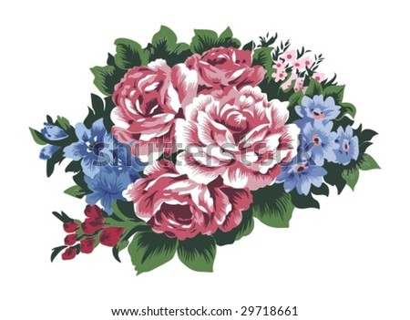 Retro illustration of big bunch of fully blossoming wild roses and field flowers.