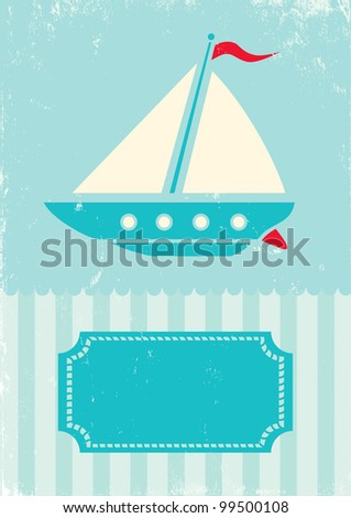 Retro illustration of ship on turquoise background - stock vector