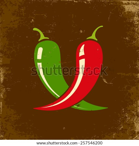 Retro illustration of two chili peppers - stock vector