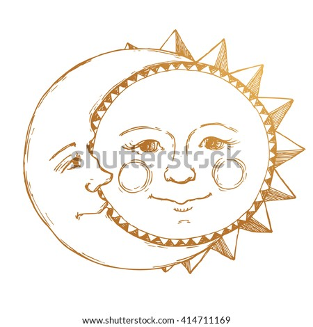 Retro Illustration Sun And Moon Face Tattoo Line Drawing Vintage Gold