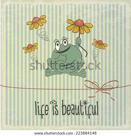 "Retro illustration with happy frog and phrase ""Life is beautiful"", vector format - stock vector"