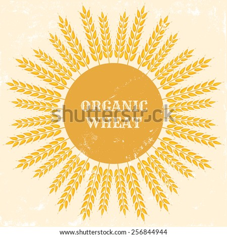 """retro image with """"organic wheat"""" text and grunge effect - stock vector"""