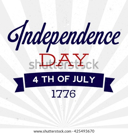 Retro Independence Day background with texture. Vector illustration for posters, flyers, decoration in colors of USA flag. Vintage design, text with rough edges. 4th of July celebration - stock vector
