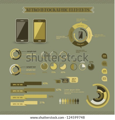 Retro info graphics set. - stock vector