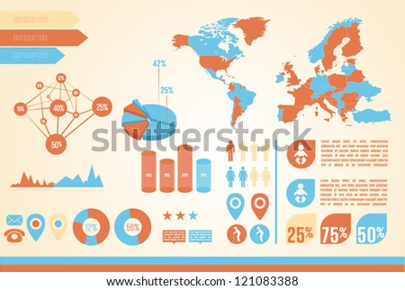 Retro info graphics set. World Map - stock vector
