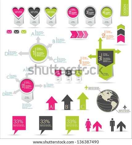 Retro infographics set - stock vector