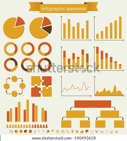 Retro infographics. Set of charts, graphs and icons - vintage details for presentation and design. Vector illustration. - stock vector