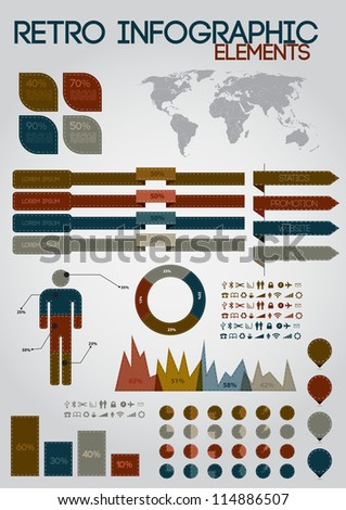 Retro infographics set. World Map and Information Graphics