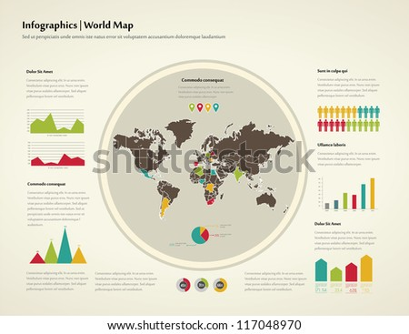 Set infographic elements world map information stock vector retro infographics set world map and information graphics gumiabroncs Gallery