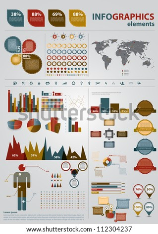 Retro infographics set. World Map and Information Graphics. Presentation diagramm.