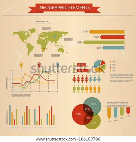 Retro infographics set world map information stock vector 106109786 retro infographics set world map and information graphics vector gumiabroncs Image collections