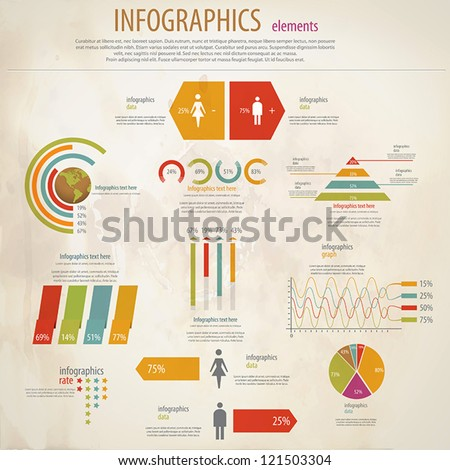 Retro infographics set. World Map and Information Graphics. Vector - stock vector