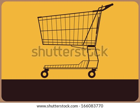 Retro information plate with silhouette of shopping cart. Vector - stock vector