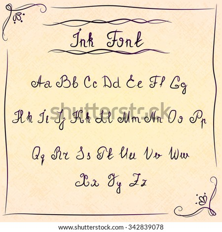 Retro ink font on paper texture in hand drawn frame with doodles, scribbles and floral elements - stock vector