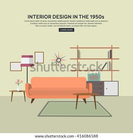 Flat style concept set interior design stock vector for Table design vector
