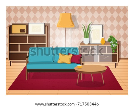 Retro Interior Of Living Room Full Of Old Fashioned Furniture And Home  Decorations   Comfy