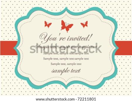 Retro Invitation Card - stock vector