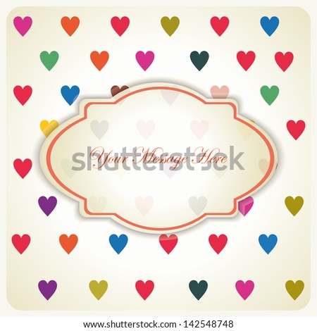 retro invitation card on seamless pattern with colorful hearts. eps10 - stock vector