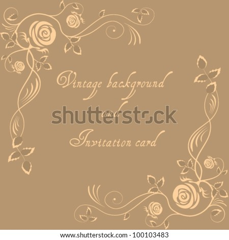 Retro invitation card with rose