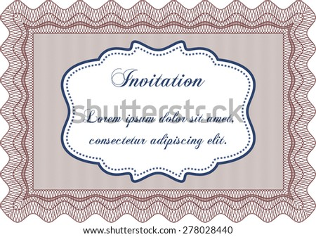 Retro invitation. Customizable, Easy to edit and change colors.Complex design. Complex background.  - stock vector