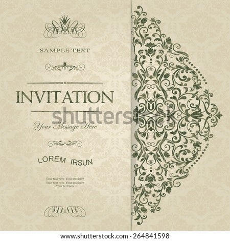 retro Invitation or wedding card with damask background and elegant floral elements - stock vector
