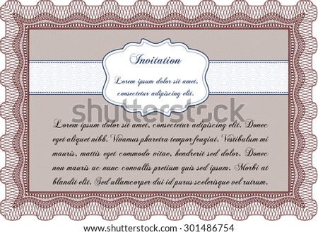 Retro invitation template. Detailed.Nice design. With linear background.