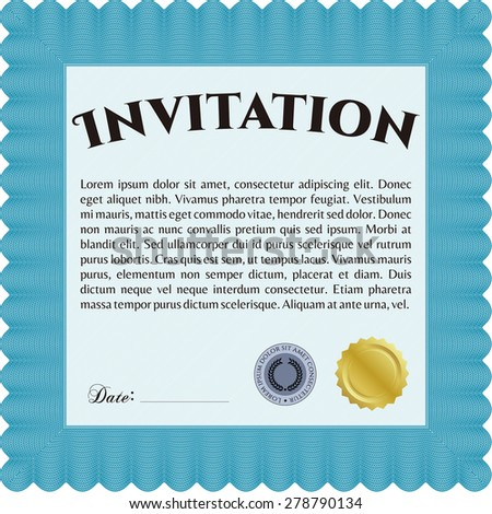 Retro invitation template. Excellent design. Complex background. Customizable, Easy to edit and change colors. - stock vector