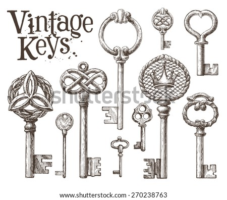 retro key vector logo design template. antiques or old thing icon.