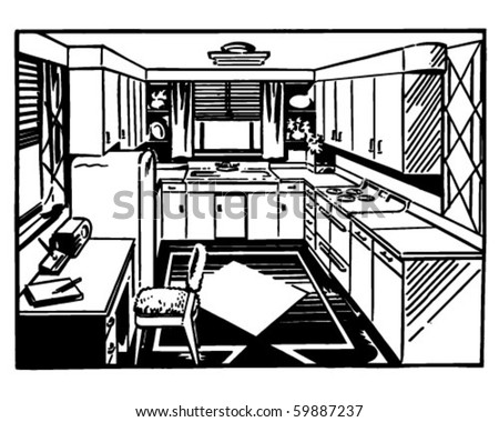 Retro Kitchen 2 Clip Art Stock Vector