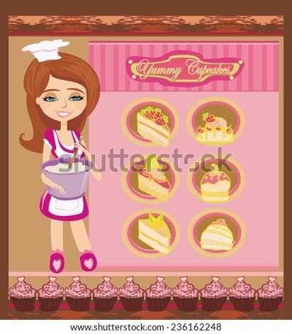 Retro kitchen Girl - stock vector