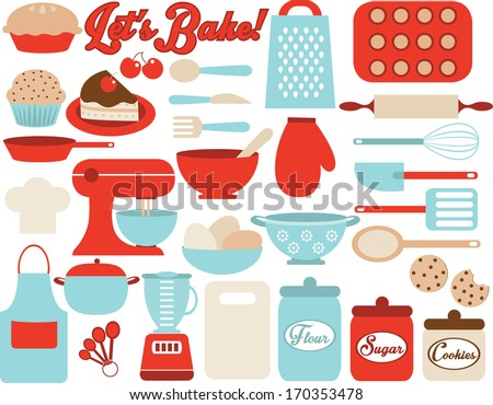 Retro Kitchen Utensils - stock vector