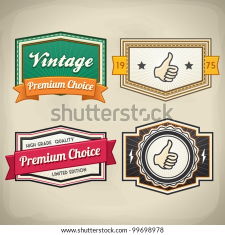 Retro Label Set 3 - stock vector