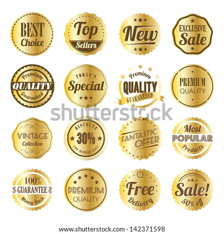 Retro label set with gold texture. - stock vector