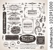 retro label style collection | vintage page elements set - stock photo