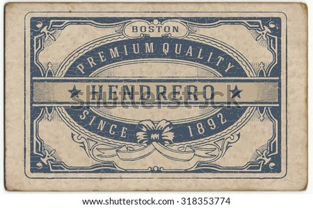 Retro label with cracked texture - stock vector