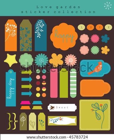 retro labels elements stickers - stock vector